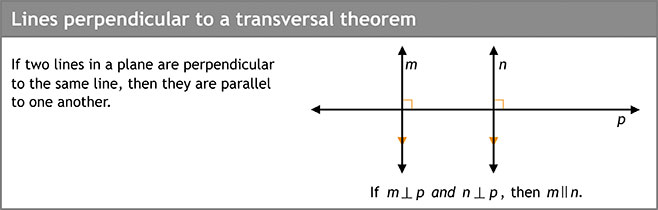 Lines perpendicular to a transversal theorem