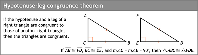 Hypotenuse-leg congruence theorem