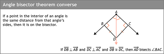 Angle bisector theorem converse