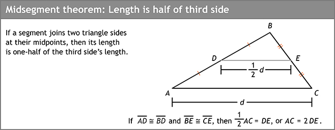 Midsegment theorrem: Length is half of third side