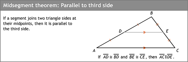 Midsegment theorem: Parallel to third side