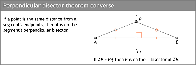 Perpendicular bisector theorem converse