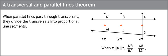 A transversal and parallel lines theorem