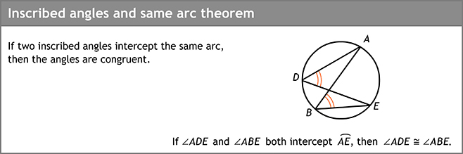 Inscribed angles and same arc theorem