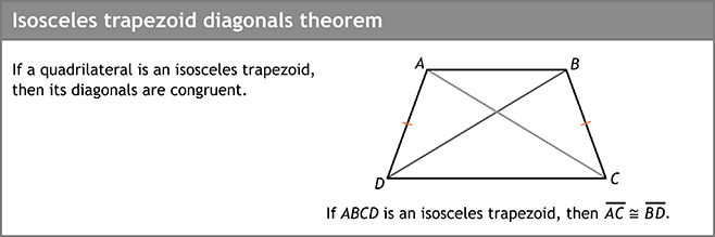 Isosceles trapezoid diagonals theorem