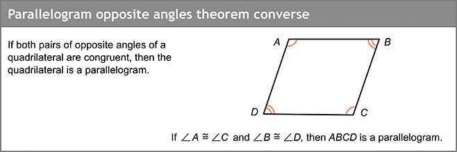 Parallelogram opposite angles theorem converse
