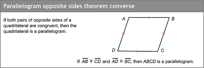 Parallelogram opposite sides theorem converse
