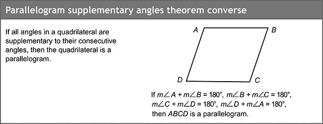 Parallelogram supplementary angles theorem convers